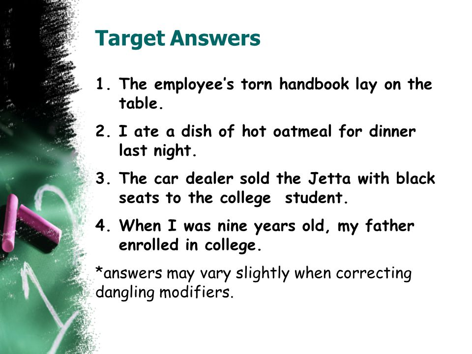 Target Answers The employee's torn handbook lay on the table.