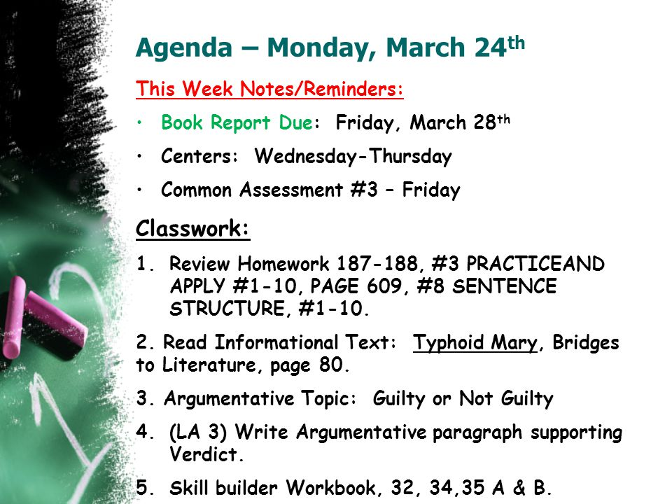 Agenda – Monday, March 24th