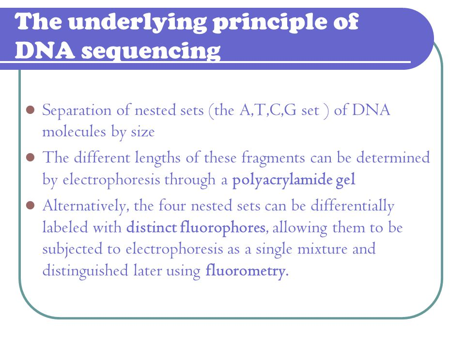 The underlying principle of DNA sequencing