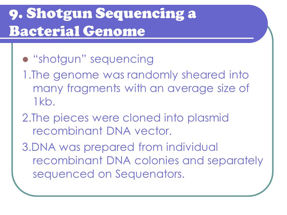 9. Shotgun Sequencing a Bacterial Genome