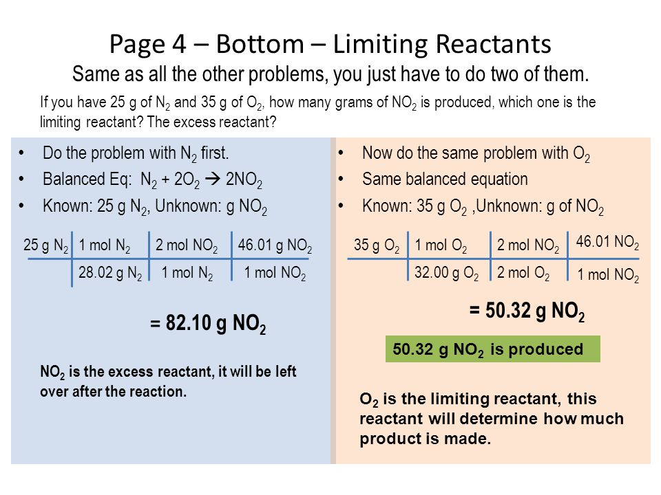Page 4 – Bottom – Limiting Reactants Same as all the other problems, you just have to do two of them.