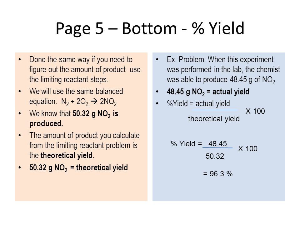 Page 5 – Bottom - % Yield Done the same way if you need to figure out the amount of product use the limiting reactant steps.