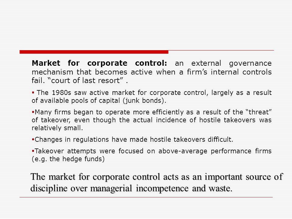 Market for corporate control: an external governance mechanism that becomes active when a firm's internal controls fail. court of last resort .