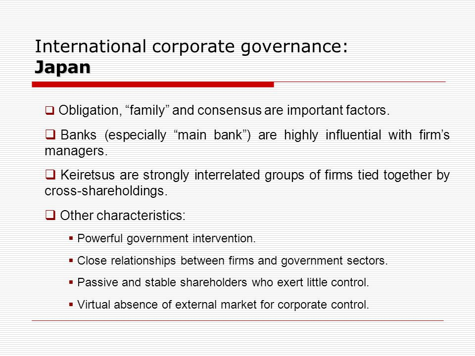 International corporate governance: Japan
