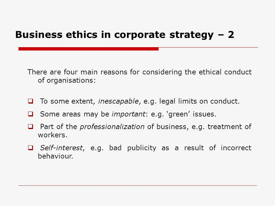 Business ethics in corporate strategy – 2