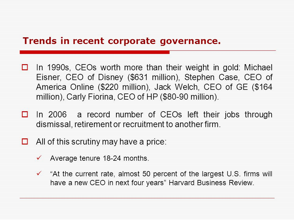Trends in recent corporate governance.