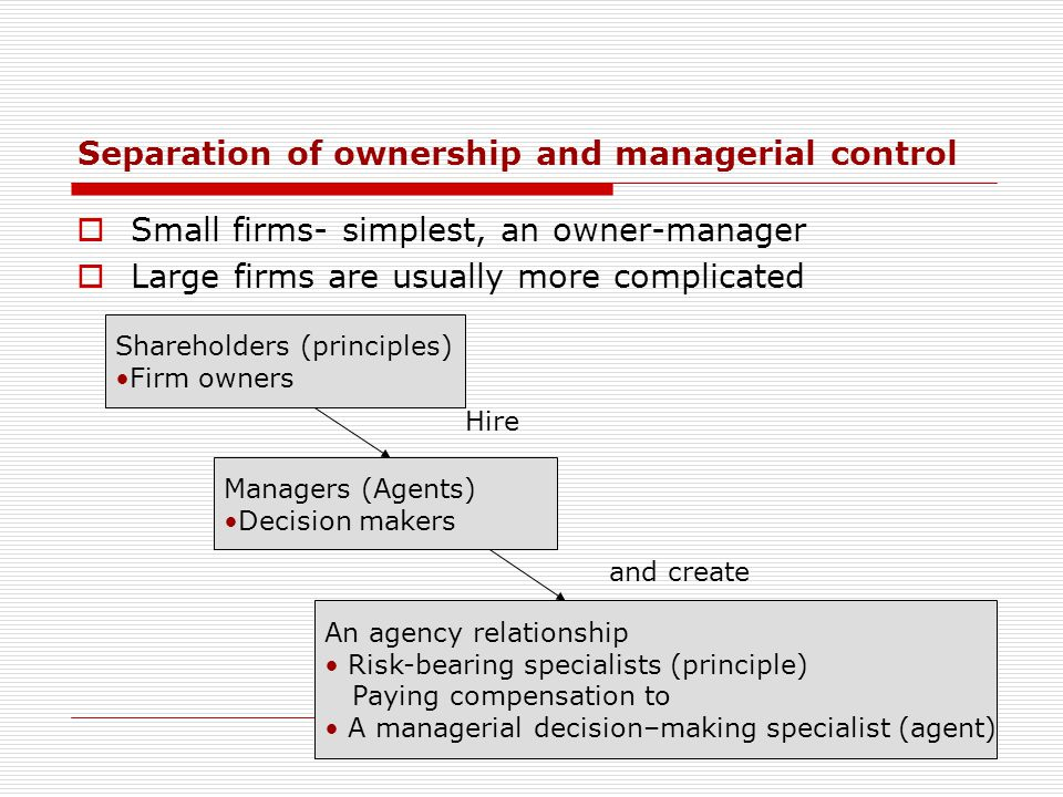 Separation of ownership and managerial control