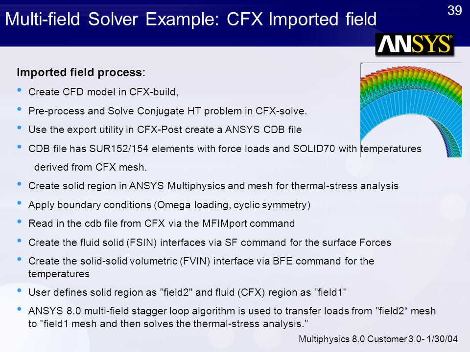 Multi-field Solver Example: CFX Imported field