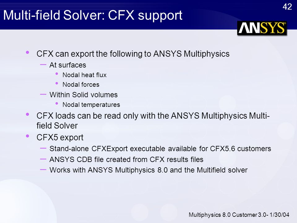 Multi-field Solver: CFX support