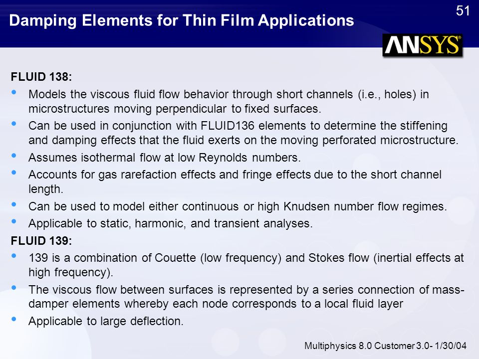 Damping Elements for Thin Film Applications