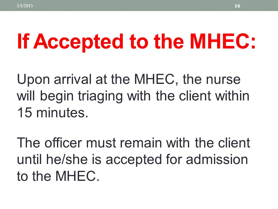 If Accepted to the MHEC: