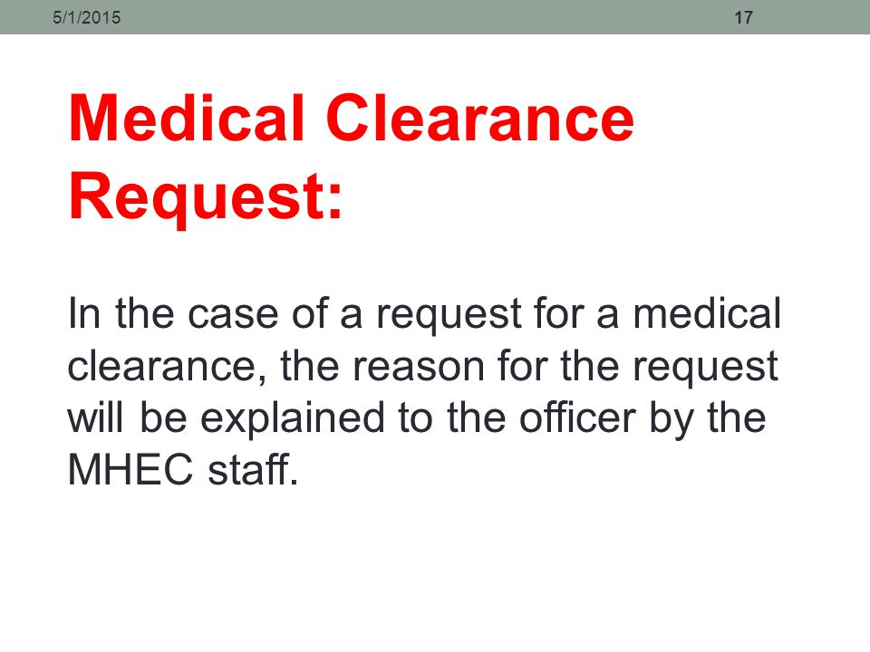 Medical Clearance Request: