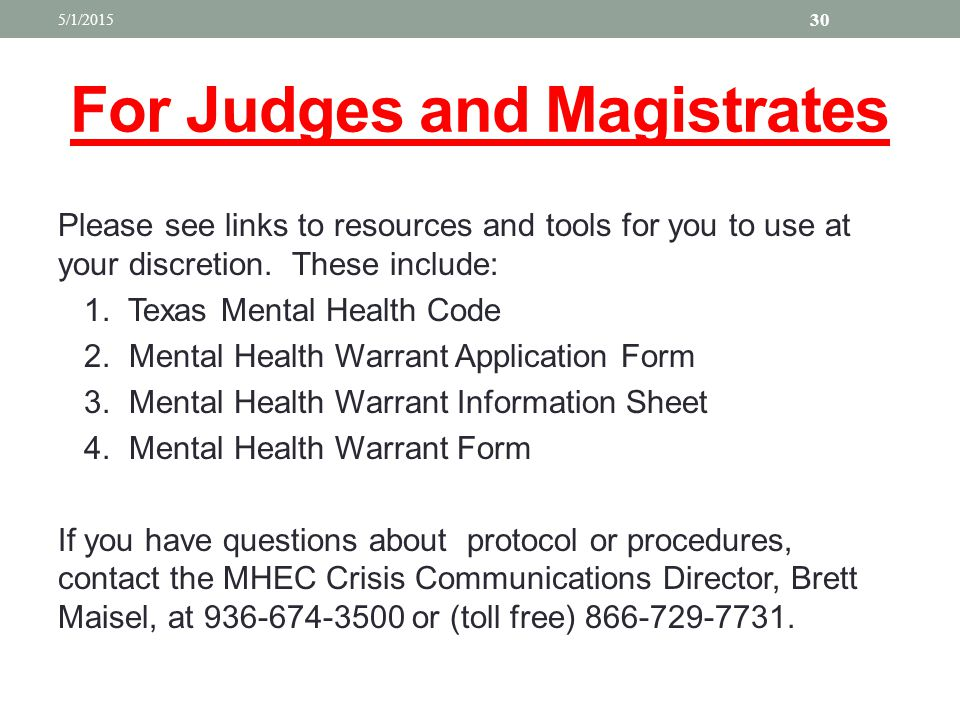 For Judges and Magistrates