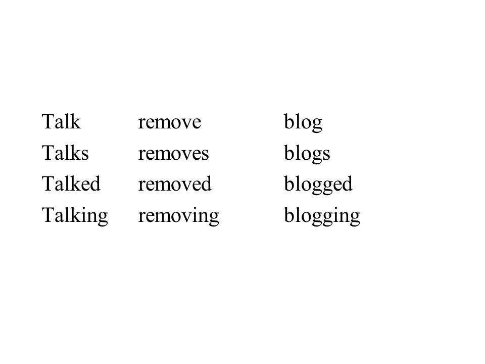 Talk remove blog Talks removes blogs Talked removed blogged Talking removing blogging