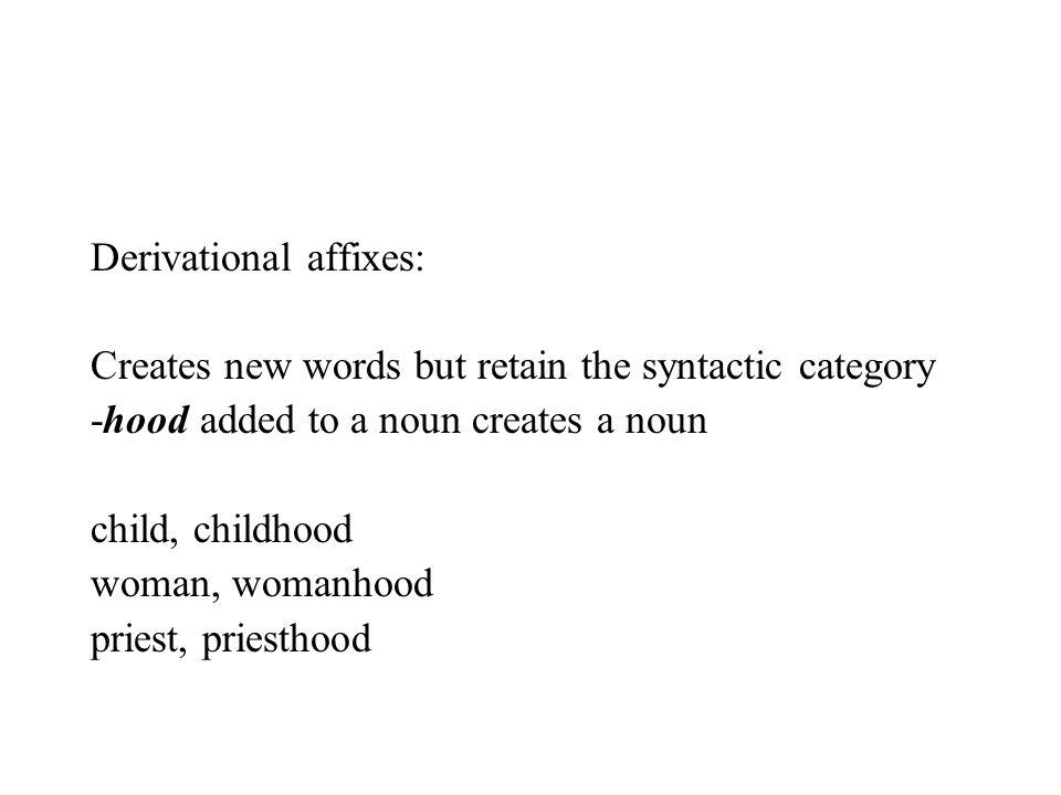 Derivational affixes: