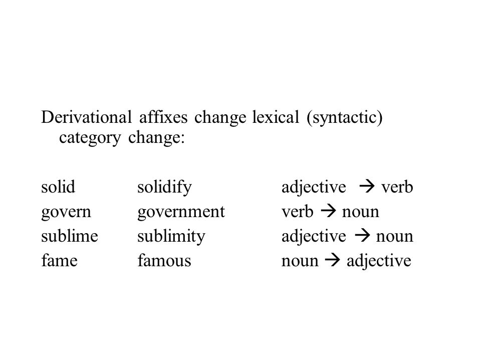 Derivational affixes change lexical (syntactic) category change: