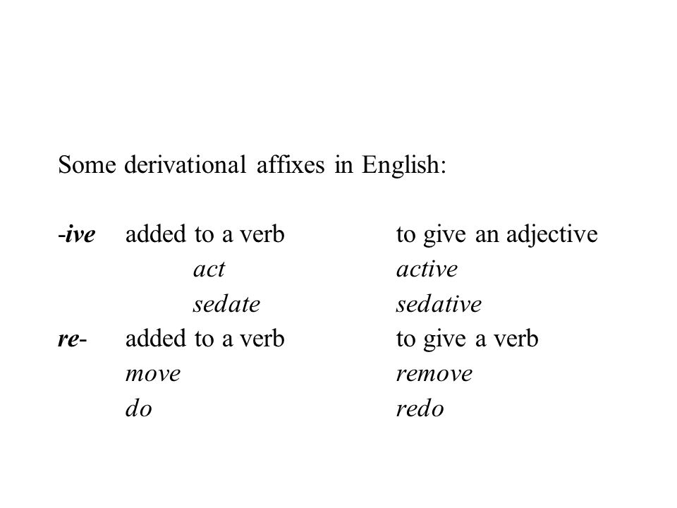 Some derivational affixes in English: