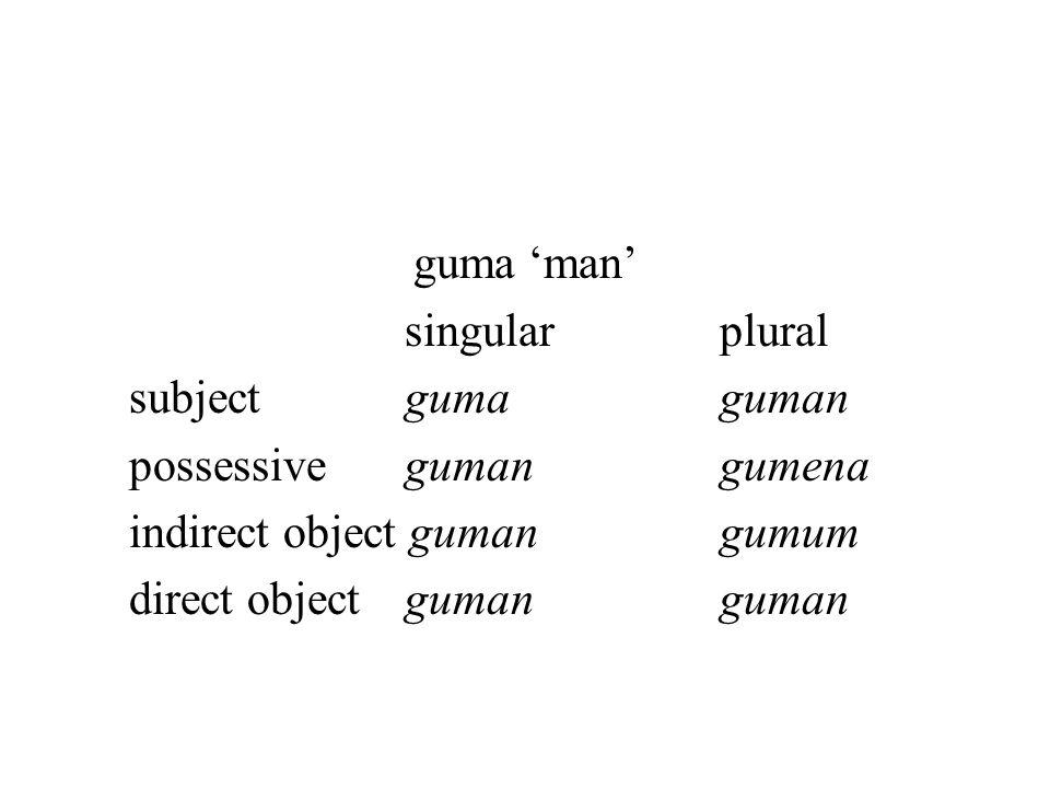 guma 'man' singular plural. subject guma guman. possessive guman gumena. indirect object guman gumum.