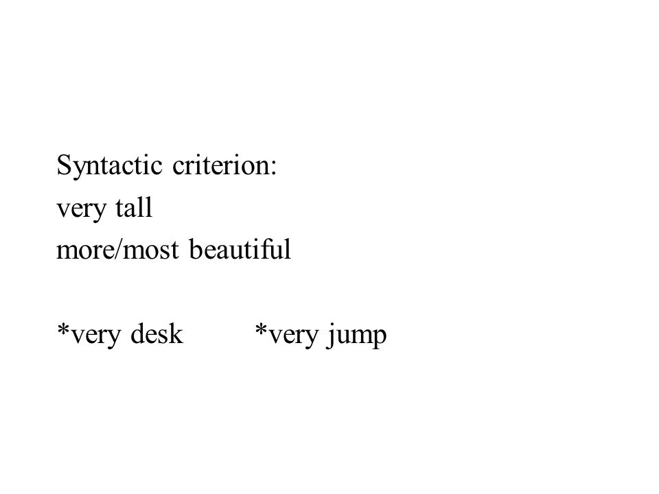 Syntactic criterion: very tall more/most beautiful *very desk *very jump