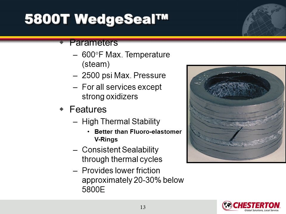 5800T WedgeSeal™ Parameters Features 600F Max. Temperature (steam)