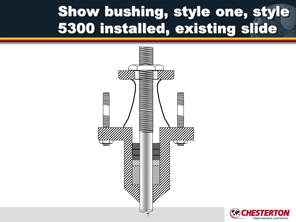 Show bushing, style one, style 5300 installed, existing slide