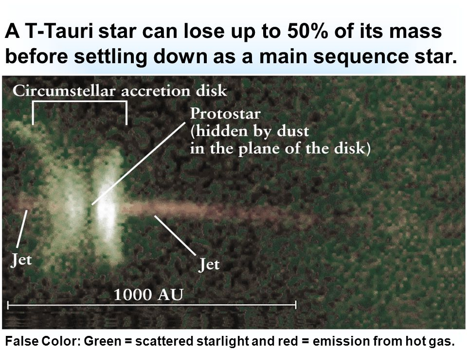 A T-Tauri star can lose up to 50% of its mass before settling down as a main sequence star.