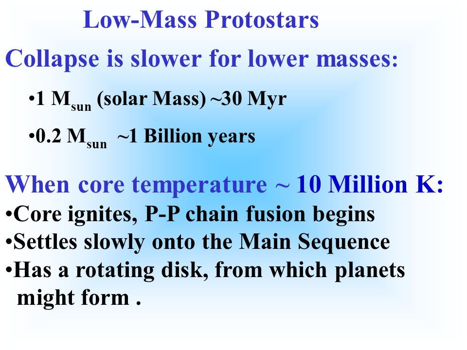 Collapse is slower for lower masses:
