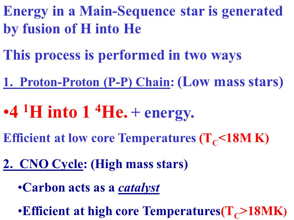 Energy in a Main-Sequence star is generated by fusion of H into He