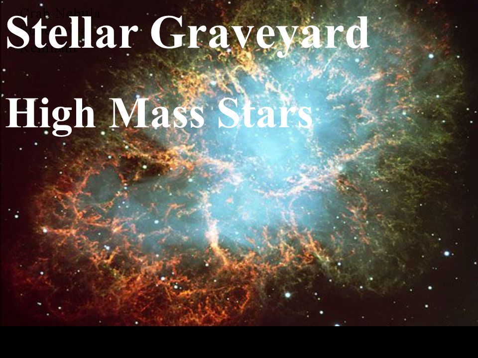 Stellar Graveyard High Mass Stars Stellar Graveyard High Mass Stars
