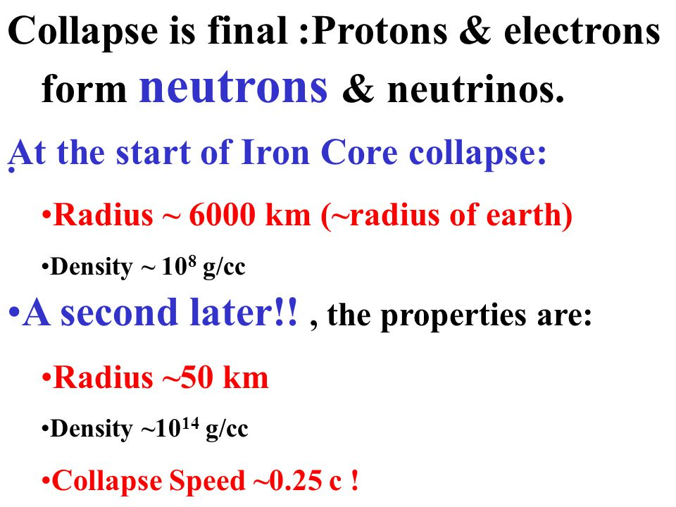 Collapse is final :Protons & electrons form neutrons & neutrinos.