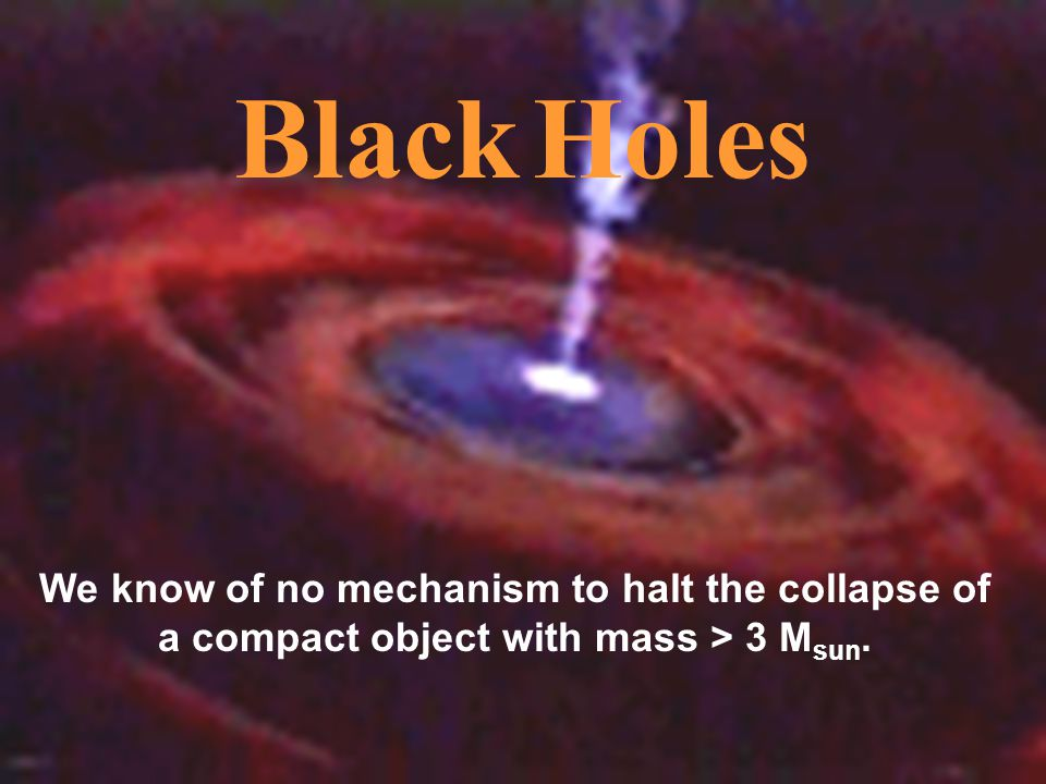 Black Holes We know of no mechanism to halt the collapse of a compact object with mass > 3 Msun.