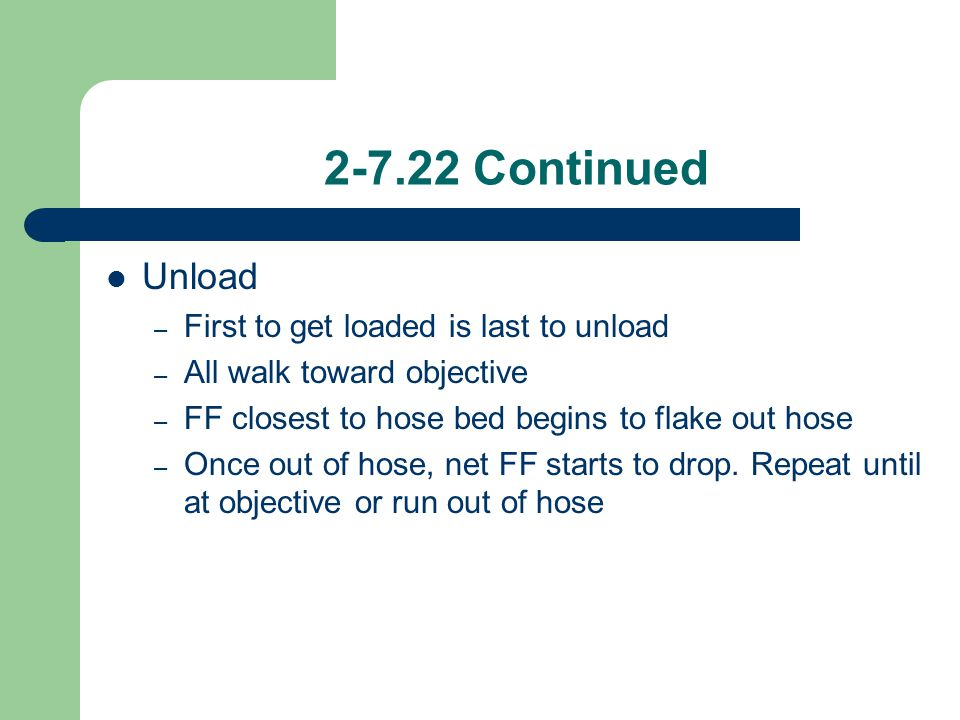 2-7.22 Continued Unload First to get loaded is last to unload