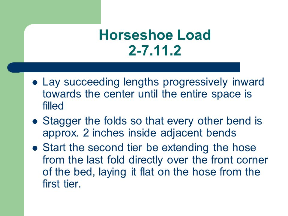 Horseshoe Load 2-7.11.2 Lay succeeding lengths progressively inward towards the center until the entire space is filled.