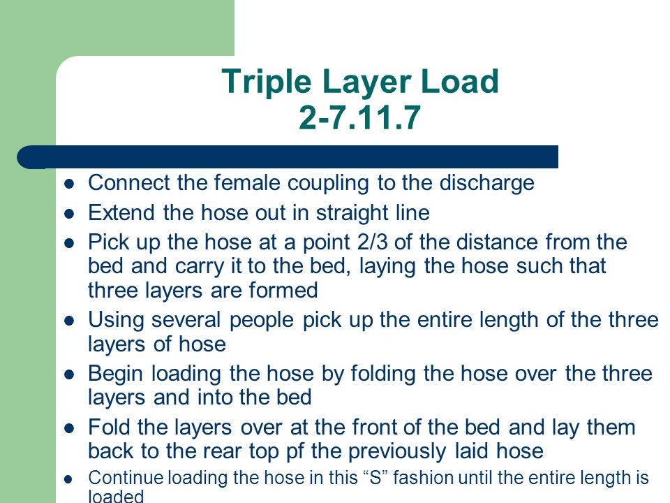Triple Layer Load 2-7.11.7 Connect the female coupling to the discharge. Extend the hose out in straight line.