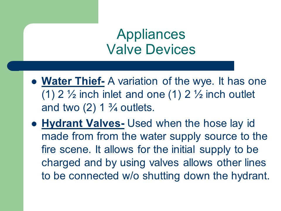 Appliances Valve Devices