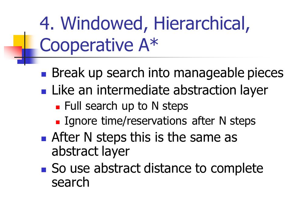 4. Windowed, Hierarchical, Cooperative A*