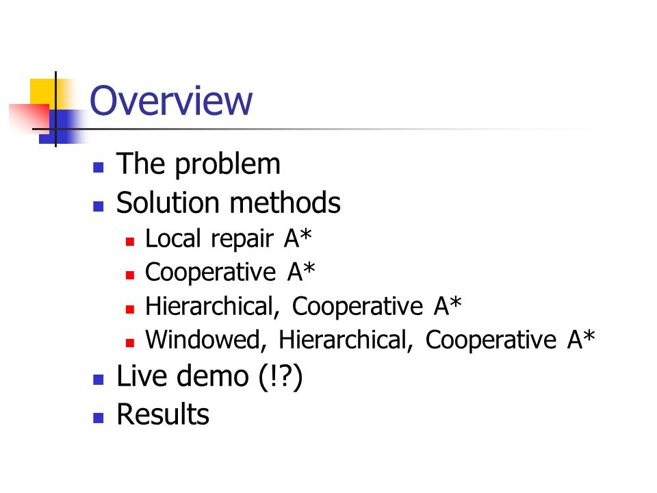 Overview The problem Solution methods Live demo (! ) Results