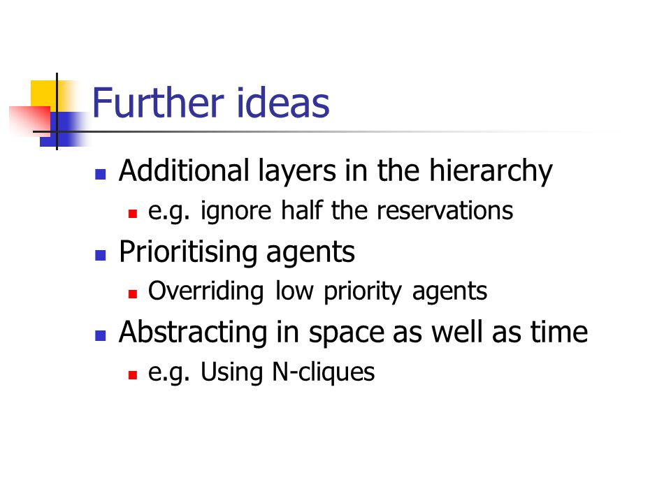 Further ideas Additional layers in the hierarchy Prioritising agents