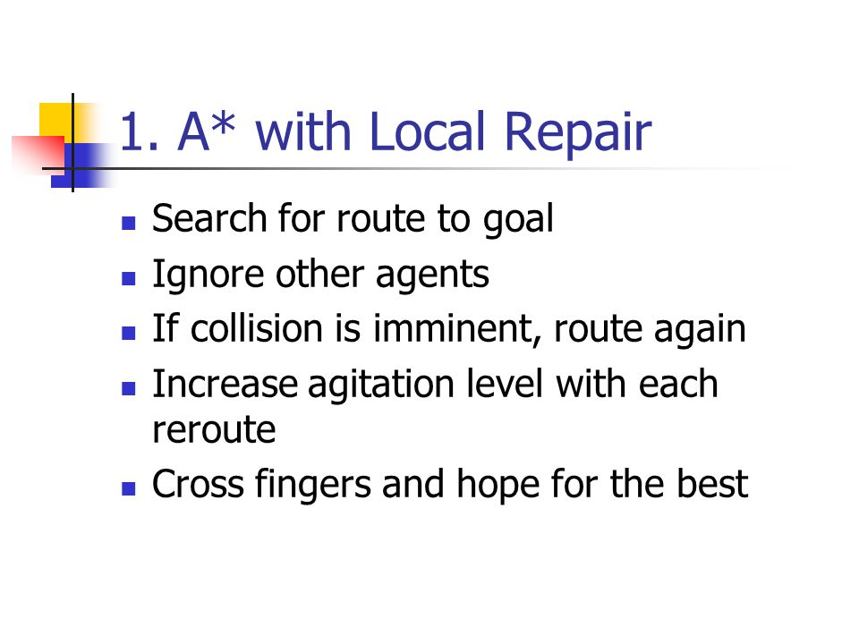 1. A* with Local Repair Search for route to goal Ignore other agents