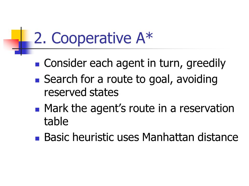 2. Cooperative A* Consider each agent in turn, greedily