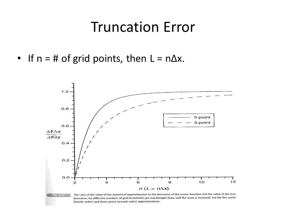 Truncation Error If n = # of grid points, then L = n∆x.