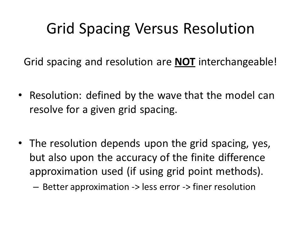 Grid Spacing Versus Resolution