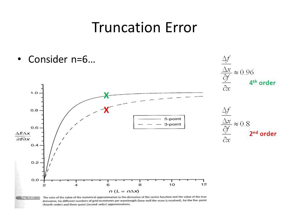 Truncation Error Consider n=6… 4th order X X 2nd order