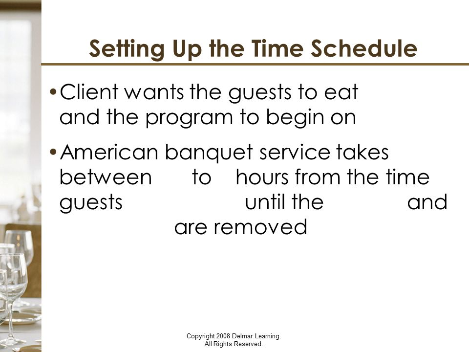 Setting Up the Time Schedule