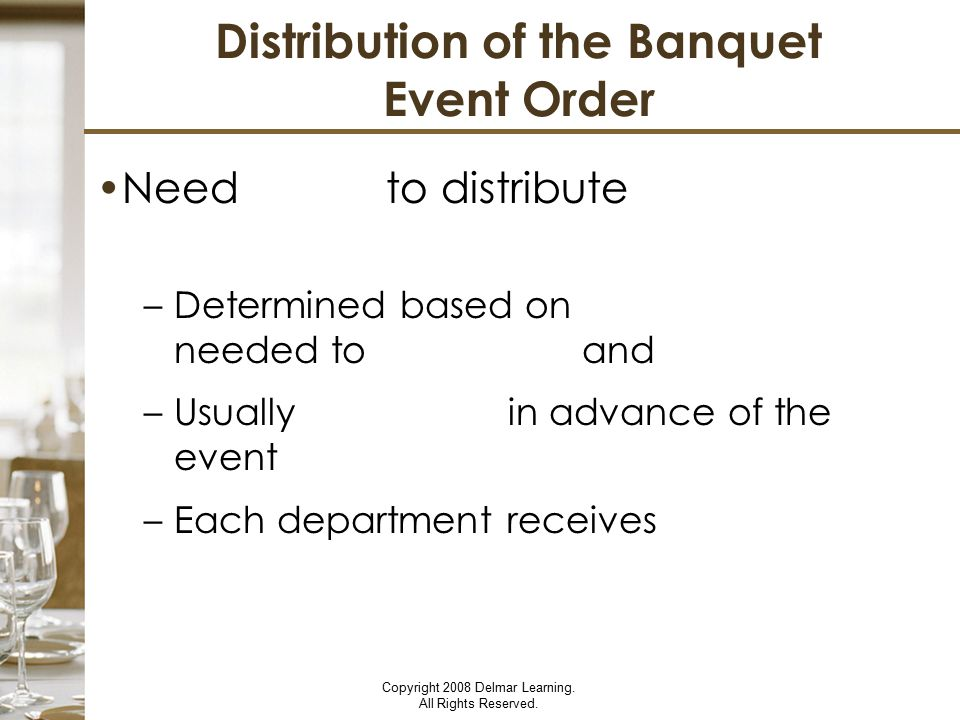 Distribution of the Banquet Event Order