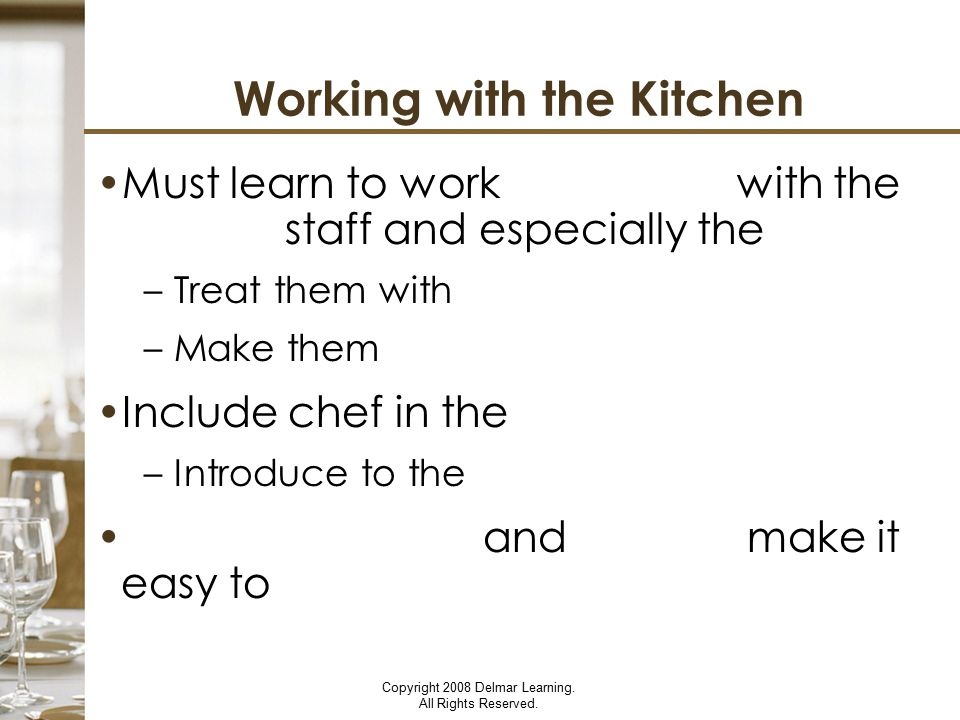 Working with the Kitchen