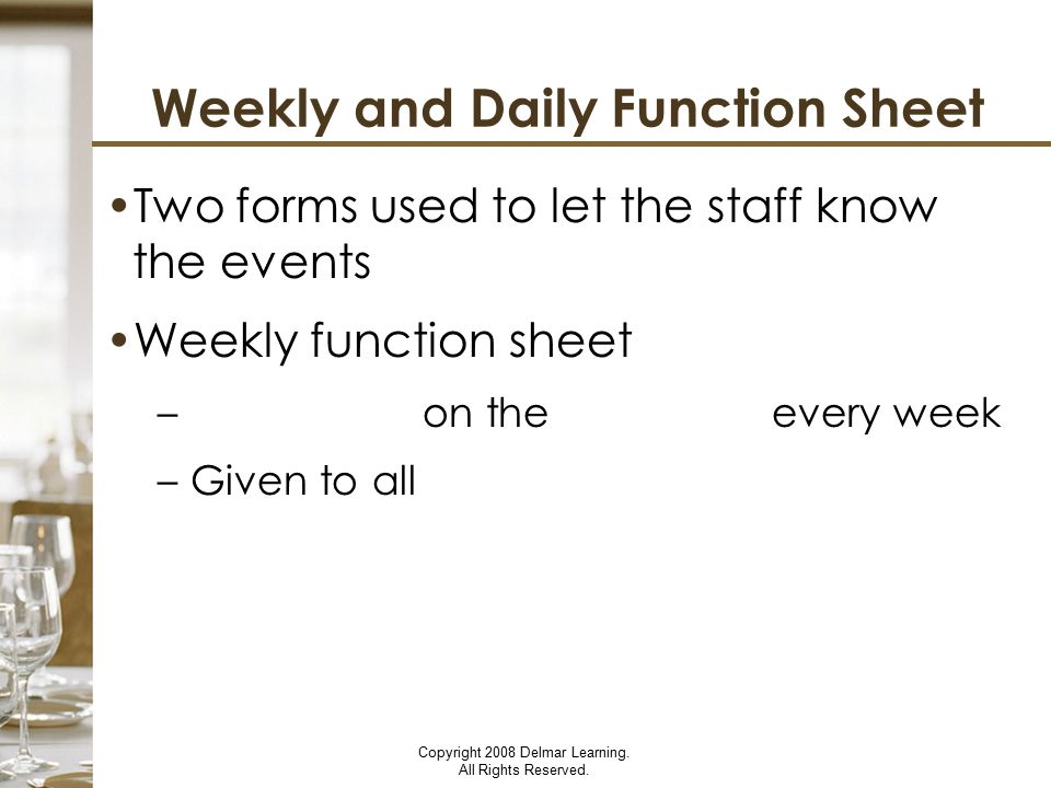 Weekly and Daily Function Sheet