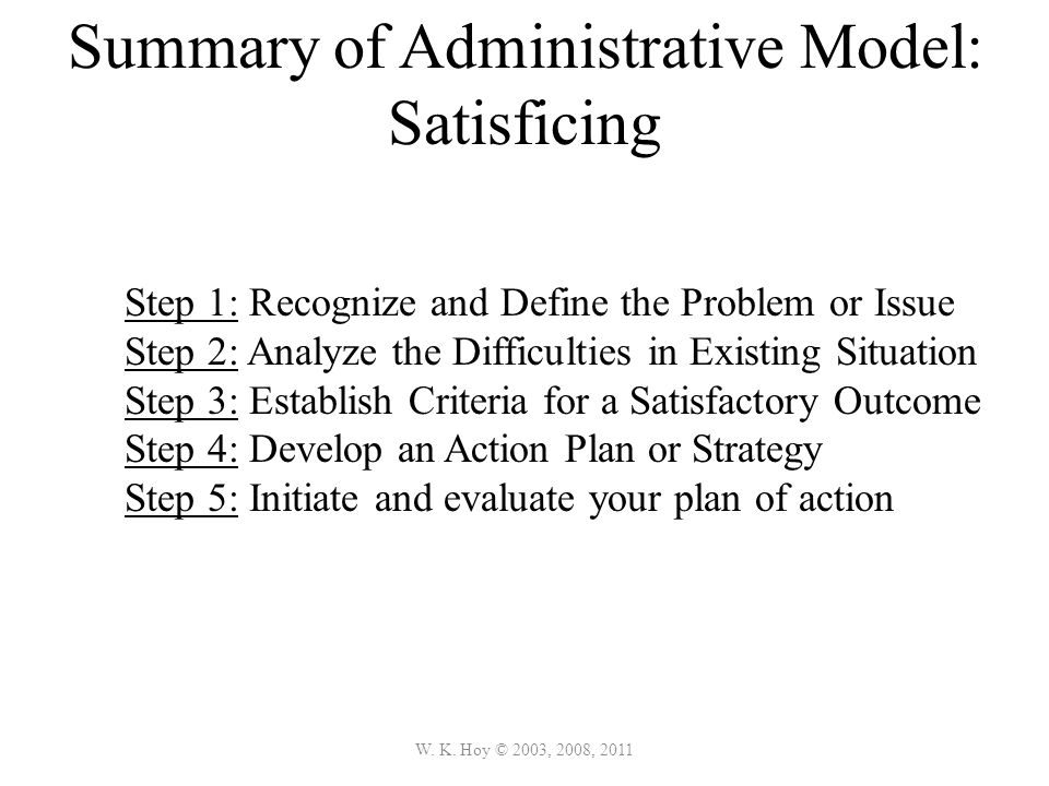 Summary of Administrative Model: Satisficing