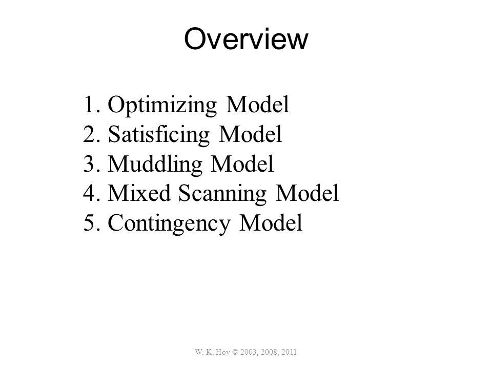 Overview Optimizing Model Satisficing Model Muddling Model