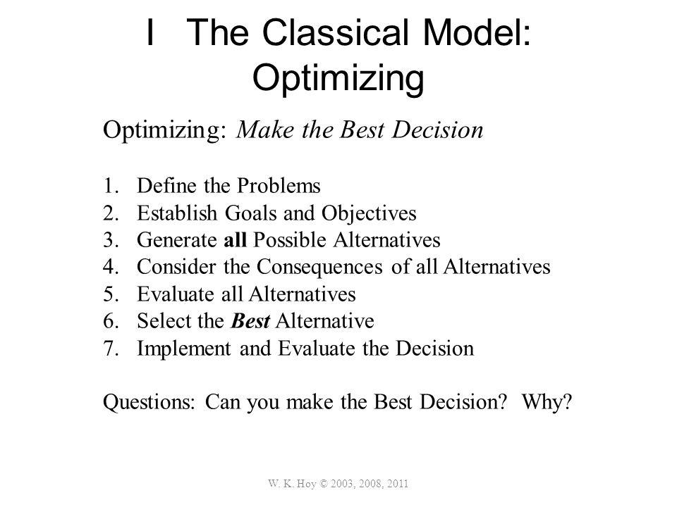 I The Classical Model: Optimizing